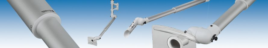Alsident System A/S - Telescopic extraction arm in aluminium. Particularly suitable for stationary work places such as weighing booths, weighing stations and be decantation of fluids